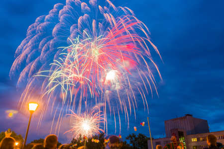 feast day: Colorful fireworks on the feast Day of the city in Kokhma, Ivanovo region, on 12 June 2014.