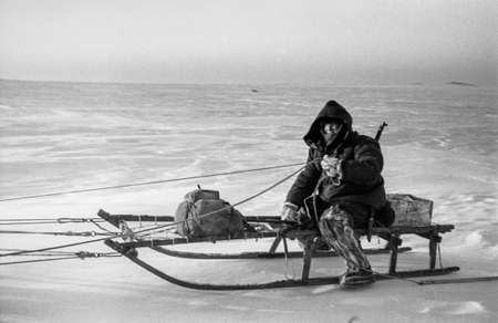 Dixon, Krasnoyarsk Krai, Russia is approximately, March 1976: the Hunter travels by dogsled through the snowy tundra, approximately, March 1976.