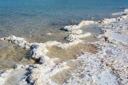 silt: Salty exotic shore of lake Baskunchak. Astrakhan region, Russian Federation.