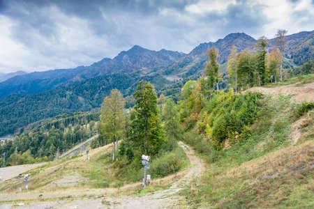 krasnodar: Views of ski resort Rosa Khutor, Krasnodar region, Russia, October 7, 2015. Stock Photo
