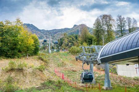 ropeway: Ropeway in the ski resort Rosa Khutor on 7 October 2015.