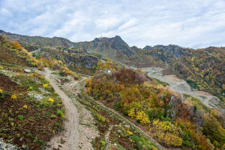 krasnodar region: Views of ski resort Rosa Khutor, Krasnodar region, Russia, October 7, 2015. Stock Photo