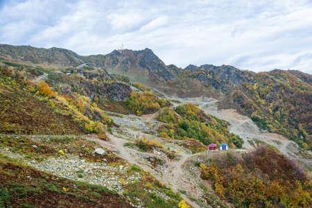 Views of ski resort Rosa Khutor, Krasnodar region, Russia, October 7, 2015. Stock Photo