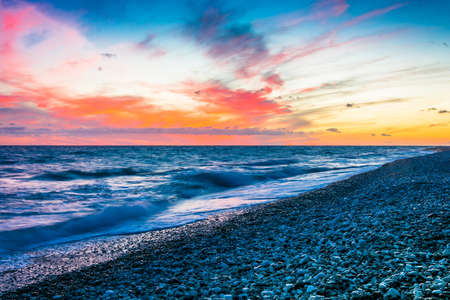 gloaming: Beautiful sunset on Black sea in Abkhazia. Stock Photo