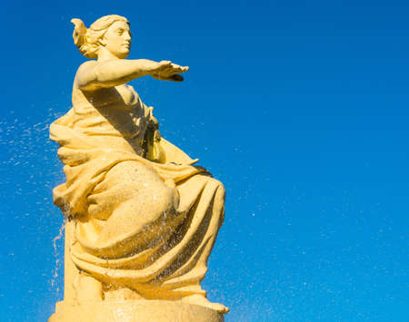 The current fountain with the Goddess of Navigation in the sea port of Sochi. Stock Photo