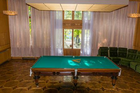 billiards table: Billiards table in the former country of the Soviet leaders ( Stalin, Khrushchev, Brezhnev), Caucasus, Abkhazia, October 18, 2015.