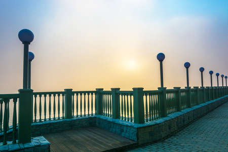 Misty morning on the river Volga, the city of Ples, Ivanovo region, Russia. Stock Photo