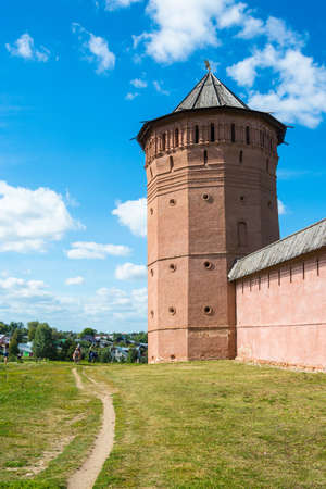 Suzdal, Vladimir region, Russia - August 28, 2015: the Ancient walls of the Suzdal Kremlin on a Sunny summer day. August 28, 2015, Suzdal, Vladimir region, Russia.