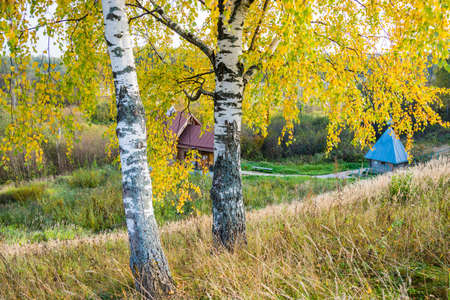 Holy spring of St. Leontius the Confessor in autumn day. Mikhailovskoye village, Furmanovskoy district, Ivanovo region, Russia.