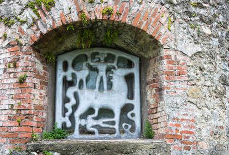 iron barred: Original metal bars on the small windows in local lore reserve Pitsunda, Abkhazia. Stock Photo