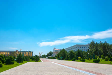 View of the building of the Government of Uzbekistan and the Ministry of Finance in Tashkent.