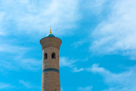 Minaret Muslim Mosque against the blue sky in Tashkent, Uzbekistan. Editorial