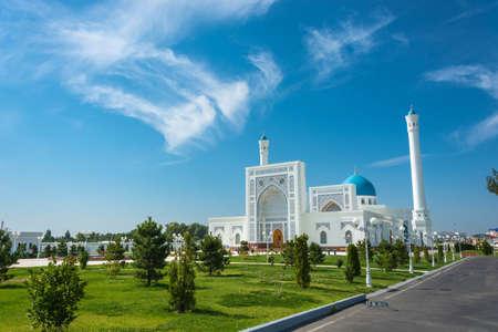 Beautiful white Minor mosque in Tashkent on a sunny day, Uzbekistan. Editorial
