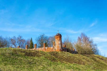 monastic: The old monastic walls of red brick in the village of Goritsy, Shuyskiy rayon, Ivanovskaya oblast, Russia.