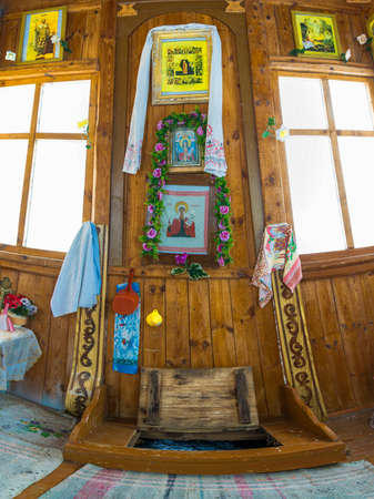 In the chapel of the Holy Spring of the Great Martyr Paraskeva. Bogatishi village, Palekh district, Ivanovo oblast, Russia. Editorial