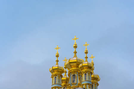 The Golden domes of Catherines Palace on a winter day in Pushkin, Saint Petersburg, Russia.