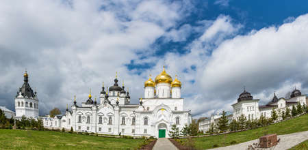 kostroma: Panorama white Epiphany monastery of St. Anastasia of the convent on a Sunny spring day in the city of Kostroma, Russia.