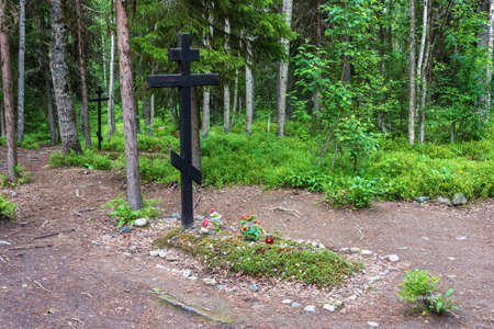 Mass graves of the repressed in the 1920 – 1930s on the Sekirnaya mountain on Bolshoy Solovetsky island, Arkhangelsk oblast, Russia.  Stock Photo