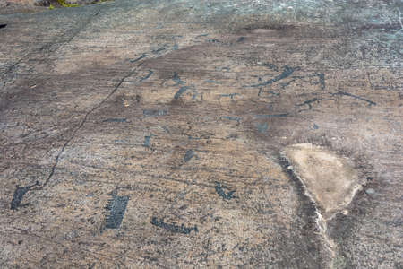 A petroglyphs are ancient drawings on a large stone, Karelia, Russia. Stock Photo