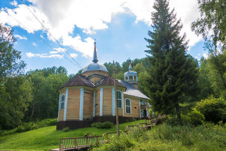 The village of Marcial waters, Karelia, Russia - August 8, 2017: The Wooden Church of the Apostle Peter August 8, 2017 in the village of Marcial waters, Karelia, Russia.