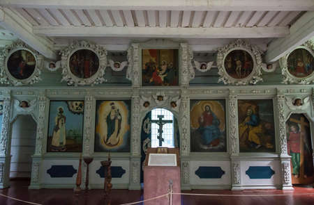 The village of Marcial waters, Karelia, Russia - August 8, 2017: The Icon in the wooden Church of the Apostle Peter 8 August 2017 in the village of Marcial waters, Karelia, Russia.