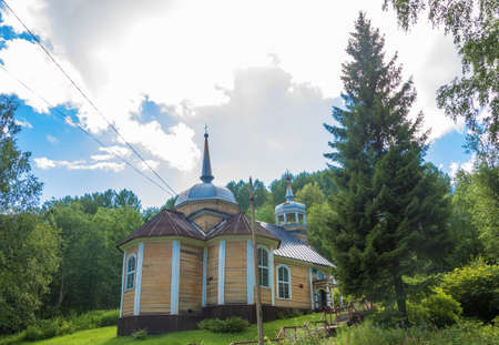 The village of Marcial waters, Karelia, Russia - August 8, 2017: The Wooden Church of the Apostle Peter 8 August 2017 in the village of Marcial waters, Karelia, Russia.