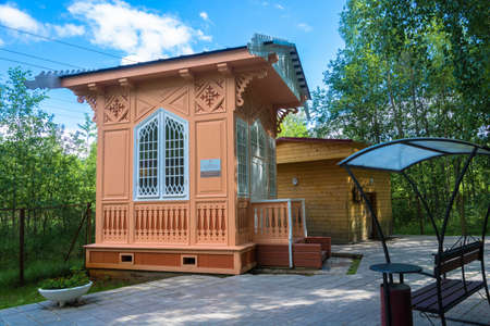 The village of Marcial waters, Karelia, Russia - August 8, 2017: the Pavilion above the spring Marcial waters on 8 August 2017 in the village of Marcial waters, Karelia, Russia.