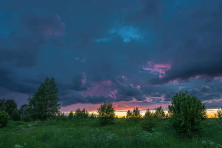 kostroma: Beautiful sunset on a summer evening, Kostroma oblast, Russia. Stock Photo