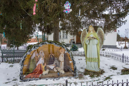 Village of Dunilovo, Ivanovo region, Russia - 01202018: Exposition of the birth of Jesus Christ in the Dunilovsky convent. 01202018 in the village of Dunilovo, Ivanovo region, Russia. Editorial