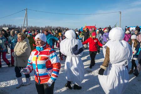 Uglich city, Yaroslavl region, Russia - 10022018: Funny dances at the festival Winter fun in Uglich, 10.02.2018 in Uglich, Yaroslavl region, Russia.