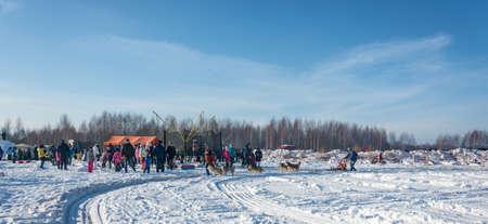 Uglich city, Yaroslavl region, Russia - 10022018: Dog sledding at the festival Winter fun in Uglich, 10.02.2018 in Uglich, Yaroslavl region, Russia. Редакционное