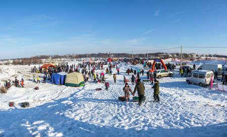 Uglich city, Yaroslavl region, Russia - 10.02.2018: General view of the venue of the Winter Fun in Uglich, 10.02.2018 in Uglich, Yaroslavl region, Russia.