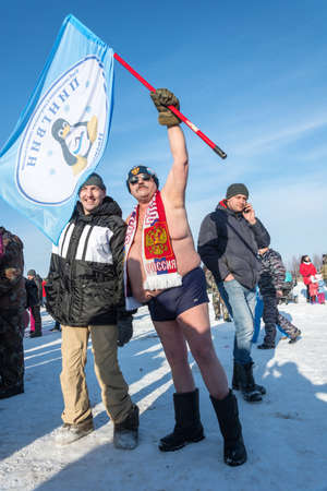 Uglich city, Yaroslavl region, Russia - 10.02.2018: Man without clothes in the frost at the festival Winter fun in Uglich, 10.02.2018 in Uglich, Yaroslavl region, Russia.