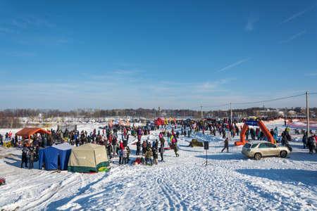 Uglich city, Yaroslavl region, Russia - 10022018: General view of the venue of the Winter Fun in Uglich, 10.02.2018 in Uglich, Yaroslavl region, Russia. Editorial
