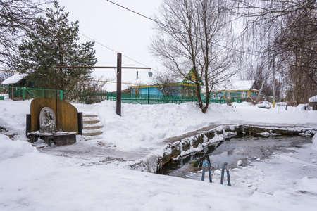 Saint Bogoroditsyn on a winter day in the village of Vyatskoye, Yaroslavl Region, Russia.