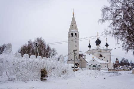 Church of the Resurrection of Christ on a Winter Day in Vyatskoye Village, Yaroslavl Region, Russia.