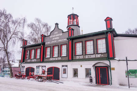 Vyatskoye Village, Yaroslavl Region, Russia - February 17, 2018: Former fire station on February 17, 2018 in the village of Vyatskoye, Yaroslavl Region, Russia.