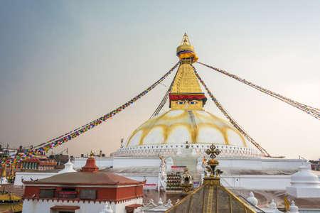 Kathmandu, Nepal-March 26, 2018: Buddhist stupa of Bodnath March 26, 2018 in Kathmandu, Nepal.