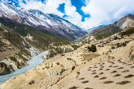 Beautiful mountain landscape with Bagmati river in Himalayas on spring day, Nepal. Фото со стока