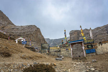 Track around Annapurna, Nepal-06.04.2018: entrance to the base camp at the Thorong La pass April 6, 2018 on the track around Annapurna, Nepal.