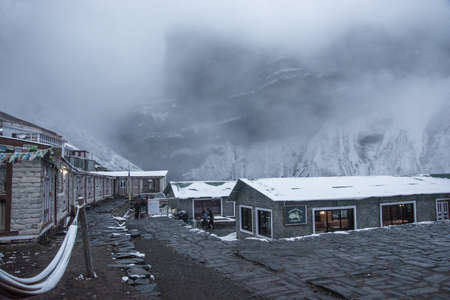Track around Annapurna, Nepal-06.04.2018: a Cloudy evening at the base camp at the Thorong La pass on April 6, 2018 at the track around Annapurna, Nepal.