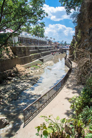 The Bagmati river in the  complex Pashupatinath Temple on a Sunny day, Nepal.