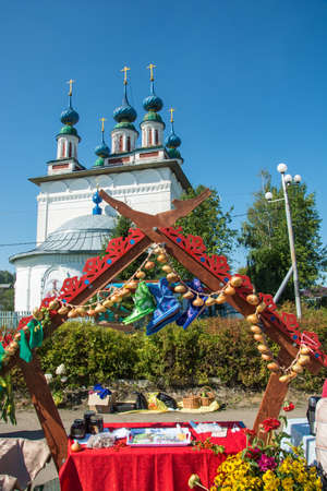 Luh, Ivanovo region, Russia - 08252018: Decoration of a trading place at the regional festival-fair Luk-luchok August 25, 2018 in the city of Luh, Ivanovo region, Russia. Redakční