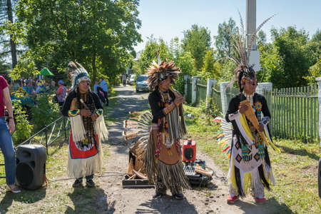 Luh, Ivanovo region, Russia - 08252018: Trio of Indian musicians at the regional festival-fair Luk-luchok August 25, 2018 in the city of Luh, Ivanovo region, Russia.