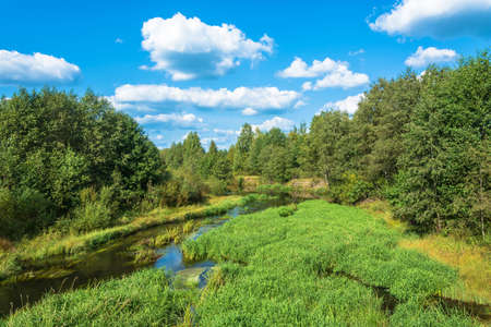 A beautiful summer landscape with a small river and cumulus clouds against the blue sky.