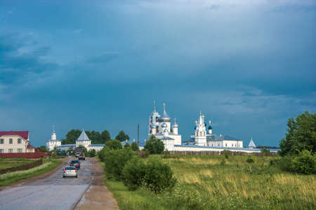 White Nikitsky Monastery on the dark blue sky, Russia.