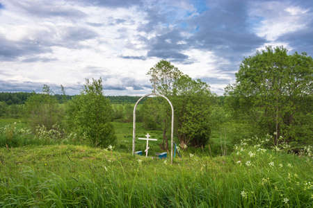 Sacred spring in honor of Saint-Jonah, Metropolitan of Moscow, All Russia, Odushevo village, Soligalichsky district, Kostroma region, Russia.