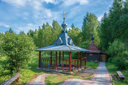 Sacred spring of Varvara Iliopolskaya near the village of Kupan, Pereslavsky district, Yaroslavl region, Russia. Фото со стока
