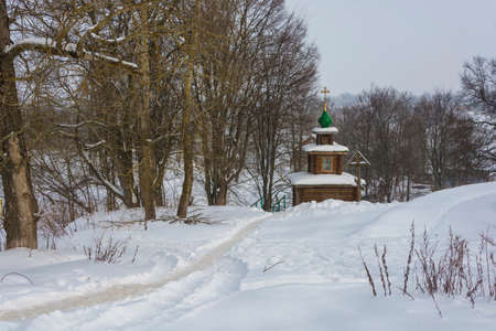 The Holy Spring of St. Nicholas the Wonderworker in the city of Tutaev, Yaroslavl Region, Russia. 스톡 콘텐츠