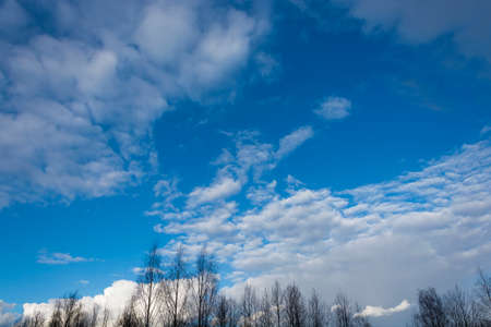 Beautiful bright clouds against the blue sky. Stok Fotoğraf